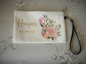 Personalised pink flamingo cream bridesmaid/wedding/gift clutch make up bag