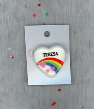 Rainbow & Hearts Fashion Pin Brooch Personalized TERESA - Stocking Stuffer