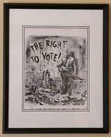Original Newton Pratt Signed THE RIGHT TO VOTE! Political Satire Cartoon