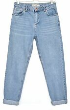Topshop MOM High Waisted Rise Light Blue Tapered Crop Jeans Size 8 W26 L30