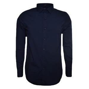 REPLAY Men's Navy Blue Slim Fit Long Sleeved Shirt.