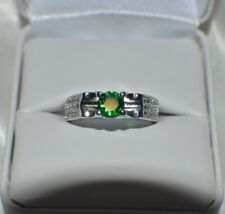 GLAMOROUS 1.26ct EMERALD  IN PLATINUM OVER .925 STERLING SILVER COCKTAIL RING