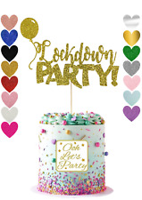Lock down Party Glitter Cake Topper, Premium, Birthday, Wedding, Baptism.