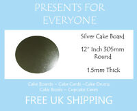 "10 x 12"" Inch Round Silver Covered Cake Board FREE SHIPPING"