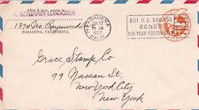 Stati Uniti 1937 Pasadena a New York offrirci OBBLIGAZIONI Slogan POSTA AEREA Copertura in buonissima condizione