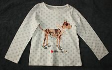 New NEXT UK Happy Puppy Dog Love Dressing Up Applique Top 4T 5T 110cm NWT
