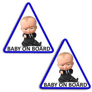 2 x Baby on Board Child Children Safety Sign Car Window Vinyl Bumper Stickers