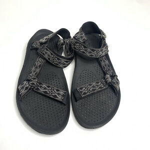 Teva Mens Nylon Ankle Strap Sport Sandals Black Gray Size 12