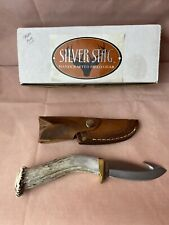 Silver Stag Antler Handle Big Game Gutter Bowie Hunting Knife w/ Leather Sheath