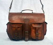 Men Women Genuine Vintage Brown Leather Messenger Shoulder Laptop Bag Briefcase