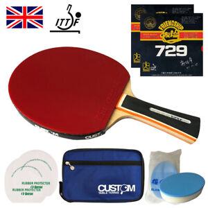 Friendship 729 FX Super Rubber ITTF Approved Custom Table Tennis Bat Bundle UK