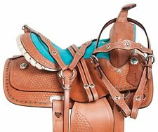 10 12 13 WESTERN PLEASURE TRAIL BARREL BLUE LEATHER KIDS YOUTH PONY SADDLE TACK