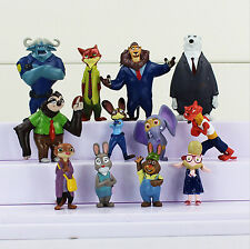 Disney ZOOTOPIA 12 Figure Cake Topper Set Judy Nick Wilde LOOSE Figurine toy