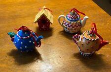 4 Mary Engelbreit Christmas Ornaments, Teapots and Bird House