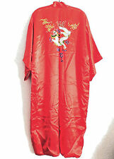 Red Silk Satin Kimono Embroidered Dragon One Size Lined New