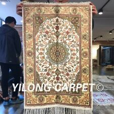 Yilong 2'x3' Small Handmade Silk Carpet Classic Indoor Floral Area Rug W246C
