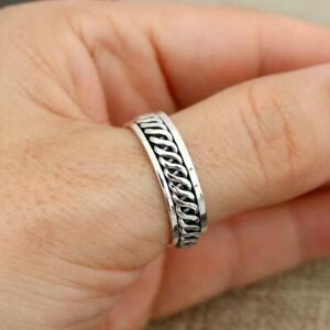 Mens Womens Plain 925 Sterling Silver Celtic Spinning Worry Band Ring 6mm