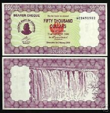 ZIMBABWE 50000 50,000 DOLLARS P30 2006 VICTORIA FALL UNC CURRENCY MONEY BANKNOTE