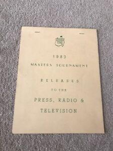 Original 1983 Masters Augusta National Press Guide first Payne Stewart Invite!