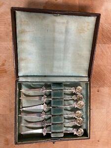 Gorham Birds Nest Nut Picks Sterling Original Box (6) 1865