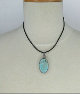 """Sterling Silver Wrapped Large Oval Turquoise Pendant 16"""" Leather Cord Necklace"""