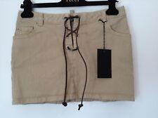 BNWT 100% auth Dsquared2, Beige Mini Denim skirt With Logo. 40 RRP £290