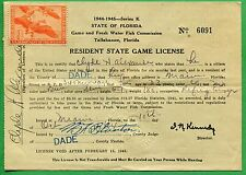 FLORIDA 1944 Resident State Game License / RW11 Unsigned Duck Stamp - 329