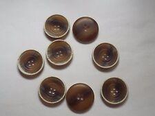 7pc 30mm Brown Beige Distressed Wood Effect Coat Cardigan Knitwear Button 4729