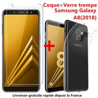 For SAMSUNG GALAXY A8 2018 COQUE HOUSSE TPU + FILM VERRE TREMPE ECRAN PROTECTION