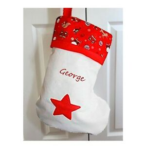 RED TOP REINDEER 50CM PERSONALISED CHRISTMAS STOCKING WITH EMBROIDERED NAME