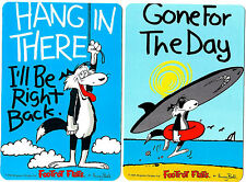 2 NOVELTY BOOKMARKS - SURFER- CARTOON - DOG - GONE FOR THE DAY - DOUBLE SIDED