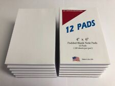 """NOTE PADS -Blank-  4"""" X 6"""" - 12 Pads - 100 Sheets Per Pad"""