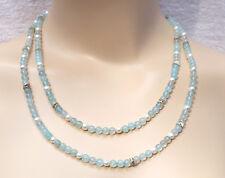 Opal Zuchtperlen Kette blau weiss Silber lang long blue opal pearl silver collar