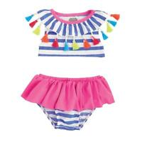 Mud Pie Fun in the Sun Collection Striped Tassel 2 Pc Swimsuit