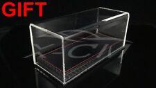 Car Model Transparent Display Show Case Carbon Fiber Like Base 1:43 (Black)