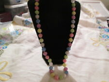 Vintage Plastic Pastel Bead Pink Yellow Blue Green Gold-tone Necklace Jewelry