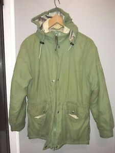 VTG AIGLE Small Size 8-10UK Hooded Green Quilted Puffer Jacket Coat Polyamide