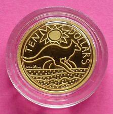 2009 AUSTRALIA KEN DONE DESIGN  KANGAROO  1/10TH  GOLD PROOF COIN BOX AND COA