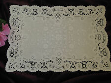 VTG 8 X 12 INCH OFF WHITE IVORY RECTANGLE PAPER FRENCH LACE DOILY CRAFT 5 PCS