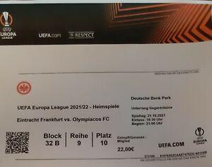 Eintracht Frankfurt - Olympiakos Piräus Sammler Ticket Als Pdf Datei