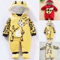 Newborn Baby Girls Boy Hoodie Jumpsuit Romper Winter Outwear Clothes Outfits Set