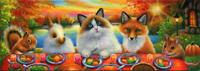 ACEO RAG DOLL CAT RED FOX SQUIRREL BUNNY COTTAGE AUTUMN THANKSGIVING PAINTING