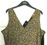 Ladies Vest Top / M&S Brown Animal Print Black Trim V Neck 18 BNWT / Marks Women