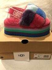 UGG Disco Checker Slide Pride Rainbow Blue Slipper Sandal Women's sizes 5-11/NEW