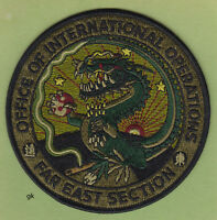 DEA DRUG ENFORCEMENT ADMIN.  FAR EAST ASIA  (SUBDUED GREEN) SHOULDER PATCH