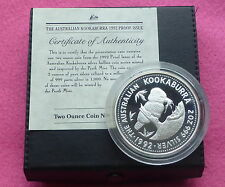 1992  KOOKABURRA TWO DOLLAR SILVER 2oz PROOF COIN BOX AND COA