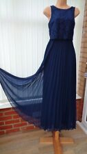 COAST NAVY BLUE SHEER PLEATED CHIFFON LACE MAXI DRESS 8 ONCE £149