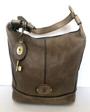 Fossil Vintage Reissue VRI Chocolate Brown Taupe Leather Bucket Shoulder Bag