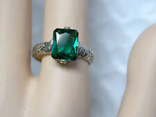 4.50ct green emerald antique 925 sterling silver ring size 8.5 USA