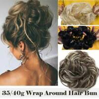 BIG THICK Curly Chignon Messy Curly Bun Updo No Clip in Hair Piece Extensions us